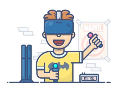 VR Gamer vector man boy illustration icon headset virtual vr character game ps4 clock