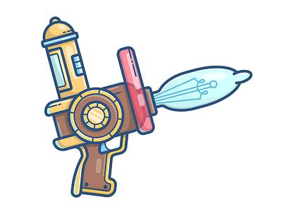 Forget-inator game asset vector illustration icon gravity falls gun blaster pistol weapon forget-inator forgetinator
