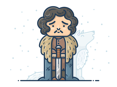 Jon Snow vector illustration icon character man boy game of thrones got wolf snow john jon