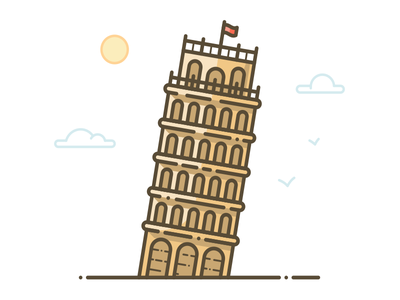 Tower of Pisa outline sign italy city icon illustration famous building monument pisa tower