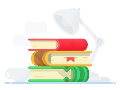 Stack of Books vector table stack shelves shelf lamp illustrator illustration icon desktop desk books