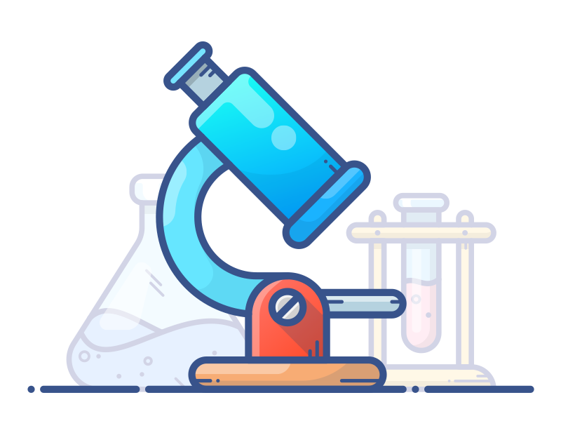 Microscope object vector tube potion illustration icon gradient blue microscope chemistry chemicals bottle
