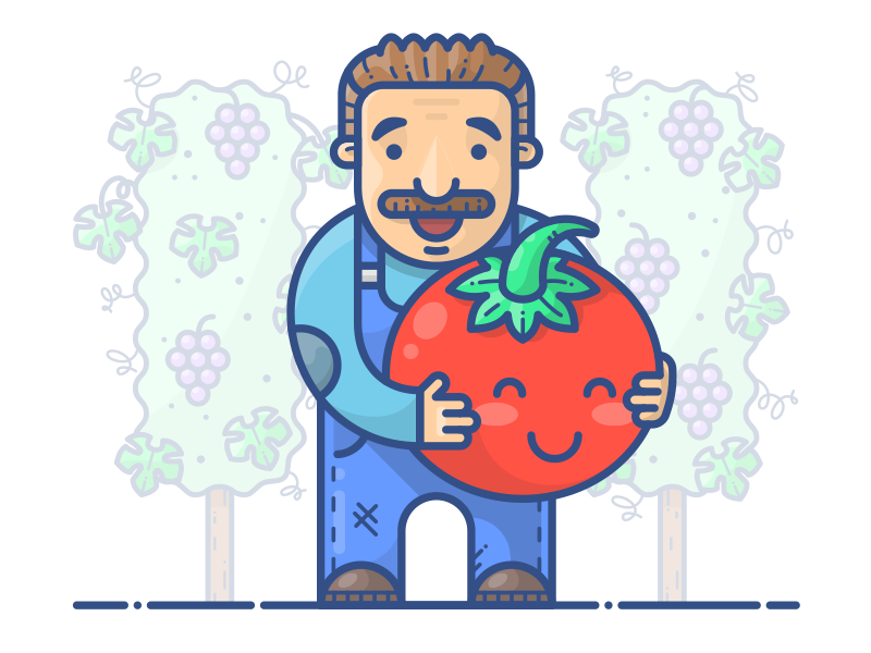 Vinny's Tomato vine vector red man sticker icon illustration tomato vinny