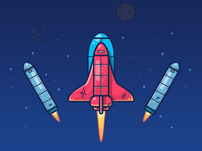 Space Shuttle (Stage 2) mars star spaceship space shuttle rocket planet outline nasa moon illustration icon