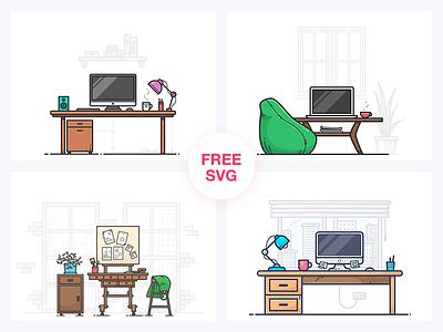 FREE Workspaces notebook computer table room work design icon illustration workspace freebie free