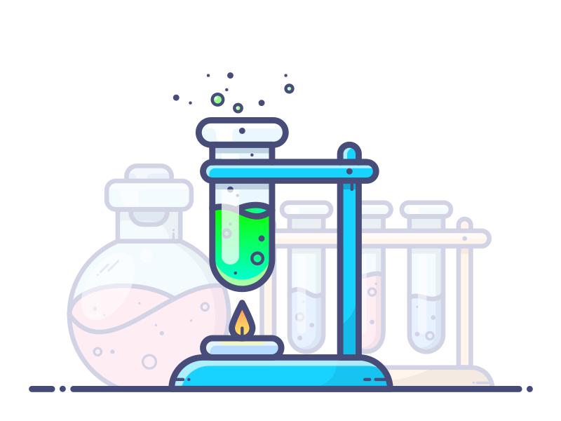 Chemistry vector tube potion outlane illustration icon gradient flask chemistry chemicals bottle green