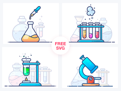 FREE Chemistry Illustrations bottle microscope workspace work tube chemicals illustration icon freebie free design chemistry
