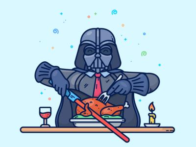 Thanksgiving turkey chicken dinner character illustration icon thanksgiving wars star dart vader darth