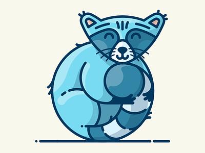 Raccoon asset outline illustator cute character vector illustration icon sticker animal raccoon