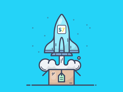 UPSELL stars present sell box shopify icon illustration space rocket smar7 upsell