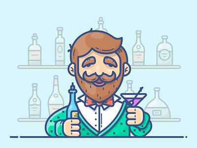 Bartender pub work winter vector illustration icon character cocktail bottle alcohol bar bartender