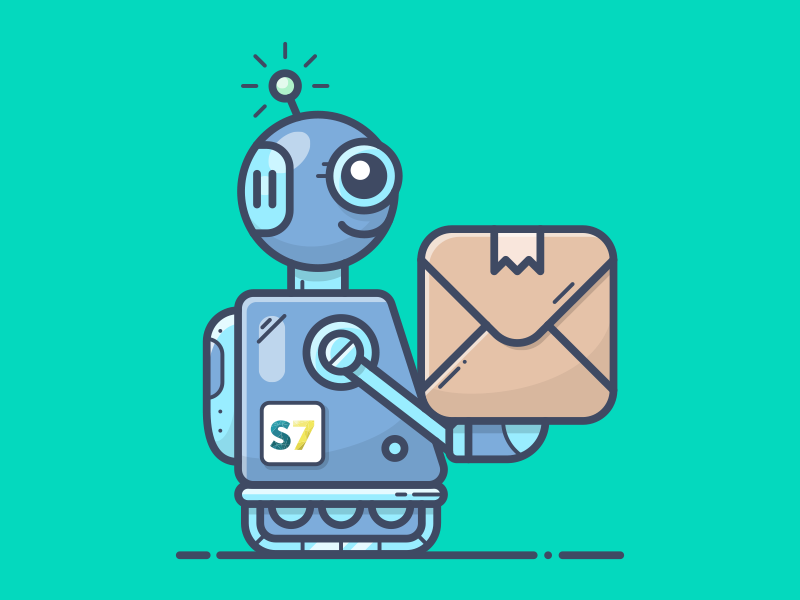 EXPRESS bot delivery smar7 rocket illustration icon shopify box sell present mech robot