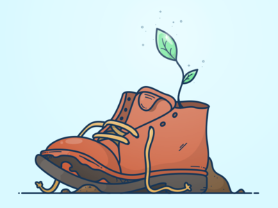 Plant Seeds illustration icon sticker giving old boot shoe plant seed