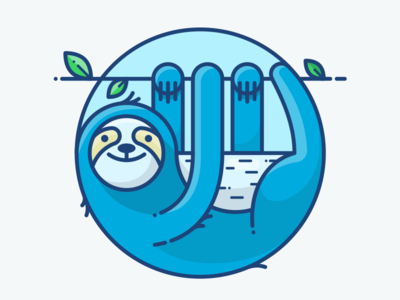 Sunday sticker panda blue sunday icon character cute illustration tree animal sloth