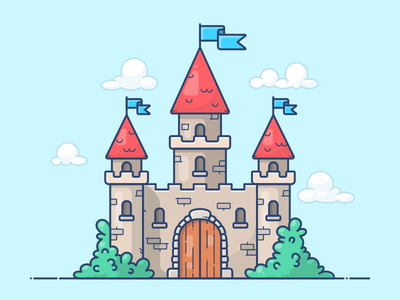 Castle clouds flag icon illustration king knight building home house castle kingdom