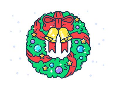 Christmas Wreath jingle illustration icon vector snow winter star new year bells wreath christmas