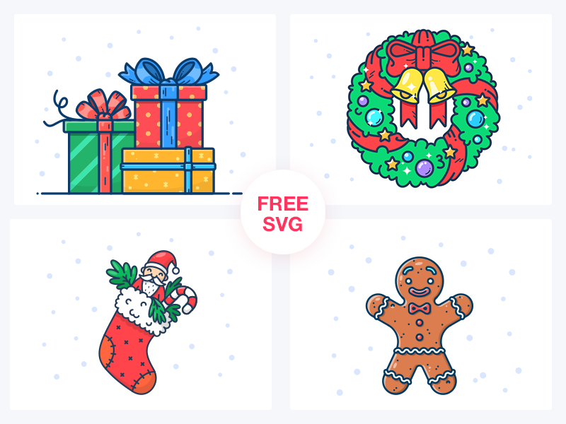 FREE Christmas Illustrations candy santa design free freebie icon illustration cookie wreath new year gifts christmas
