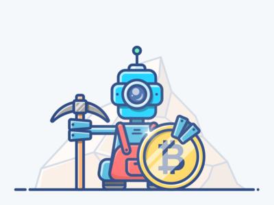Miner blockchain money icon illustration coin gold mine landing bitcoin robot digger miner