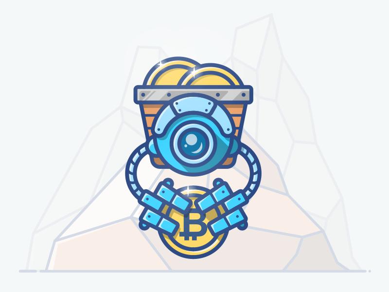 Miner blockchain miner digger robot bitcoin landing mine gold coin illustration icon money