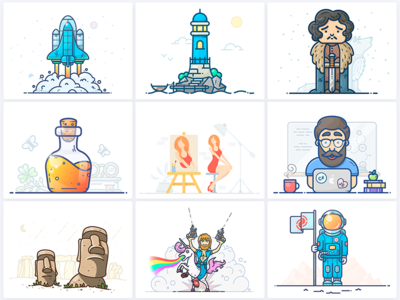 The Best 9 of 2017 outline outlane lighthouse space onboarding picture 9 icon illustration shot best