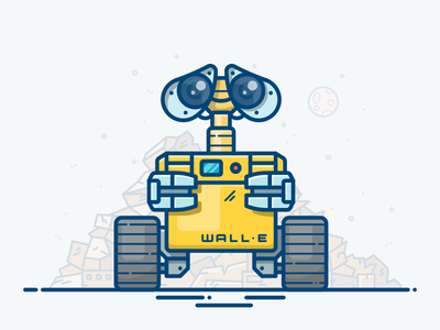 WALL-E character movie mech planet machine space moon eve illustration icon robot wall-e