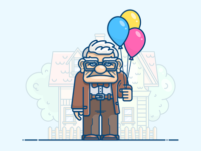 Old man movie up icon illustration house bubbles character grandfather father oldman man old