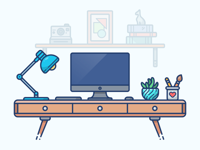 Workspace apple imac work kunchevsky computer desktop icon illustration illustrator room vector workspace