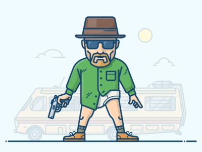 Walter White character illustration icon vector hat gun van trailer rv breaking bad heisenberg white