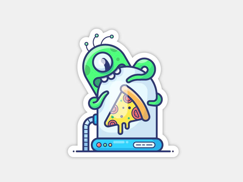 Aliens pizza sticker