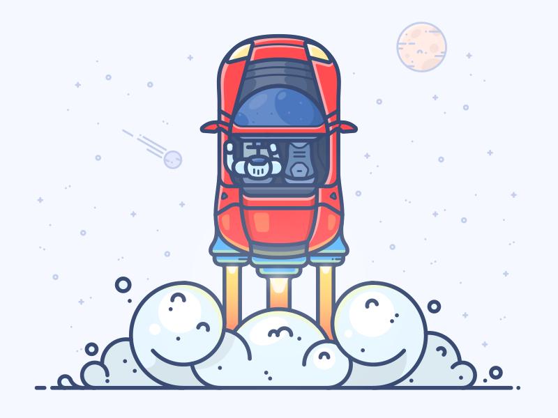 Red Roadster illustration vector icon mars shuttle rocket space musk elon tesla roadster red