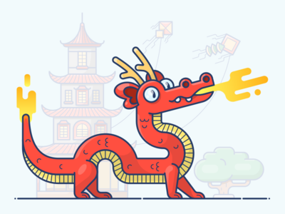 Chinese Dragon flat outline cute banzai kite character icon illustration vector china dragon chinese