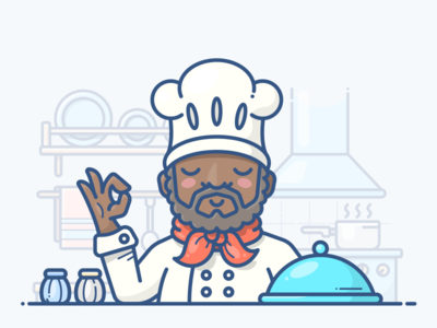 Chef workspace work people man plate dish illustration icon kitchen cook chef character