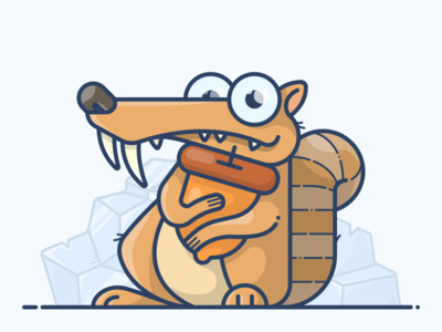 Scrat outline vector animal squirrel illustration icon character movie age ice scrat