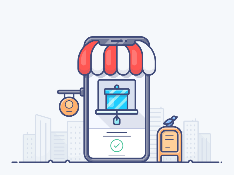 Mobile E-commerce city illustration store shop icon phone mobile ecommerce e-commerce