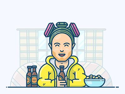 Jesse Pinkman serial vector beer illustration icon character movie bad breaking heisenberg pinkman jesse