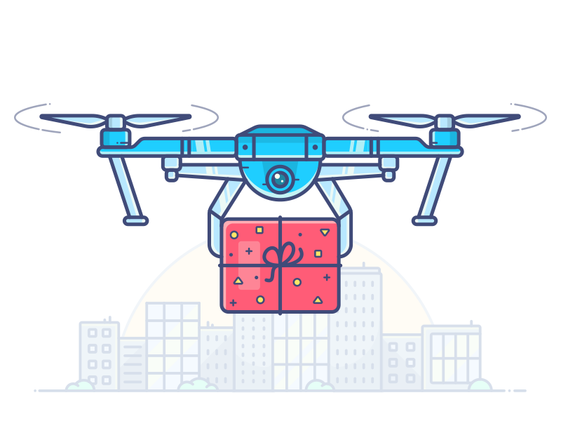 Shipping & Handling amazon delivery robot vector city icon illustration box parcel drone handling shipping