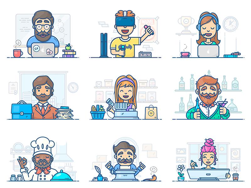 People At Work support writer vector designer artist programmer workspace work icon illustration set character