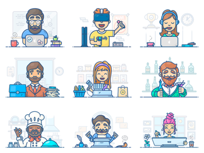 People At Work support writer vector designer artist programmer workspace work icon illustration set character
