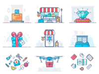 E-commerce Illustrations illustration icon vector set parcel delivery free shipping e-commerce