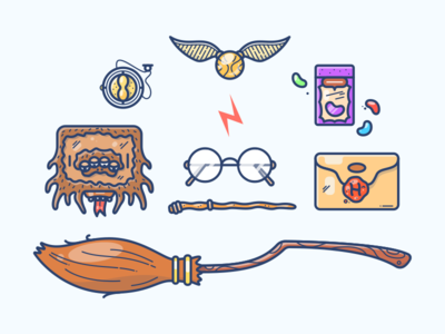 Harry Potter illustration gear icon scar glasses snitch beans monster book broom potter harry