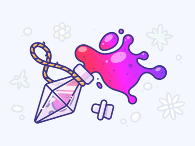 Potion of Eternity vector illustrator illustration icon art game bottle flask gradient purple red potion