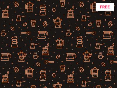 Free Coffee Pattern vector mug freebie free illustration set icon pattern background bean cup coffee
