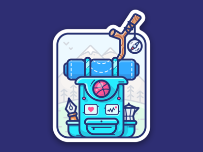 Dribbble Adventure mountain vector hiking backpack illustration design icon mule sticker playoff dribbble