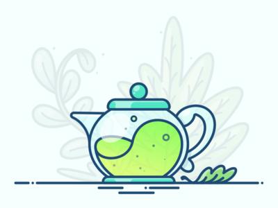 Green Tea item design vector icon illustration leaf gradient green teapot potion tea