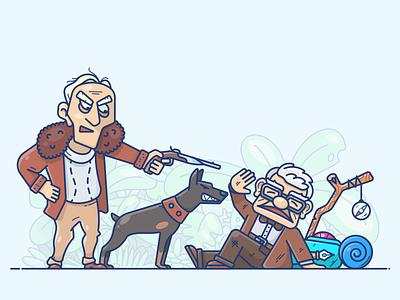 Help! pixar charles design icon illustration dog man old oldman movie up