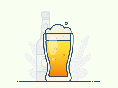 A pint of beer friday weekend vector sticker illustration icon poster pint bottle glass mug beer