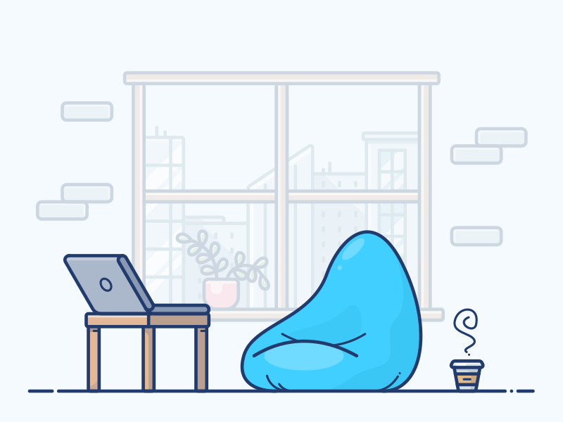 Casual Workspace illustration icon casual cowork programmer table work city coffee macbook laptop workspace