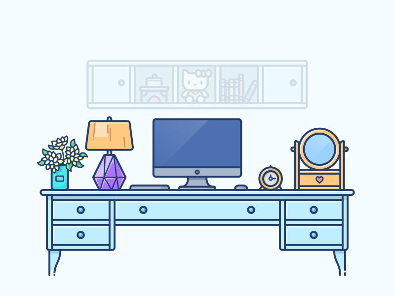 Home Workspace workspace work table desk macbook laptop illustration icon clock coffee kitty casual