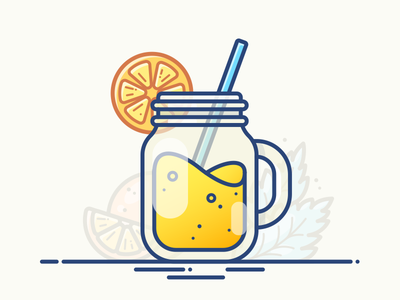 Cocktail Jar set potion vector icon mint illustration juice orange glass mug jar cocktail