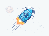 Fast Transaction Rocket shuttle rocket blockchain machine robot crypto illustration fast icon space planet delivery